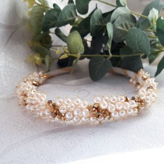 cream pearl and gold crystal tiara
