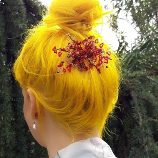 red and gold radiance hair clip