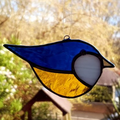 Stained glass copper foil blue tit