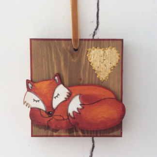 Fox & heart wood block