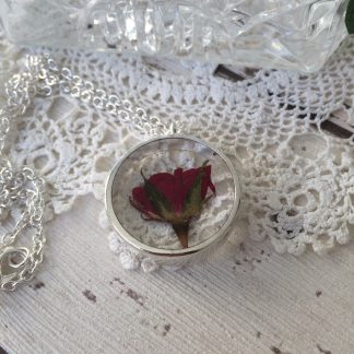 Dried, pressed real red rose bud floating necklace