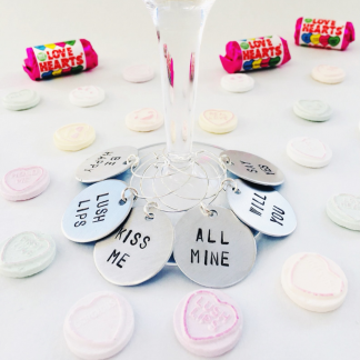 Love heart sweets wine charms