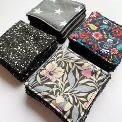 Reusable make up wipes black bamboo terry