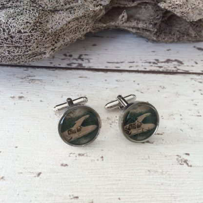 Rcycled vintage aeroplane postage stamp cuff links