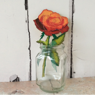 Wood hand painted rose stem