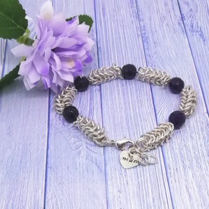 Amethyst Chainmail Hand stamped heart Mum Bracelet