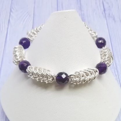 Amethyst Chainmail Hand stamped heart Mum Bracelet front