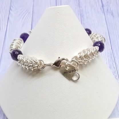 Amethyst Chainmail Hand stamped heart Mum Bracelet clasp