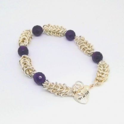 Amethyst Chainmail Hand stamped heart Mum Bracelet plain white background