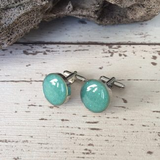 Round rhodium plated turquoise cuff links