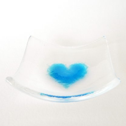 Turquoise blue heart fused glass bowl
