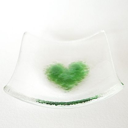 Green heart fused glass bowl