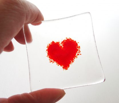 Red heart fused glass bowl