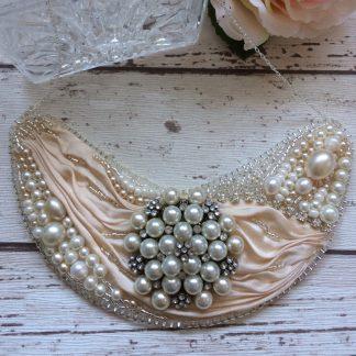 Sterling silver ivory bead embroidered bridal statement necklace