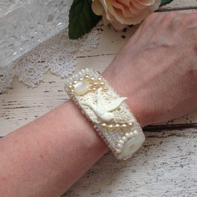 Handmade vintage ivory lace and button bead embroidered cuff