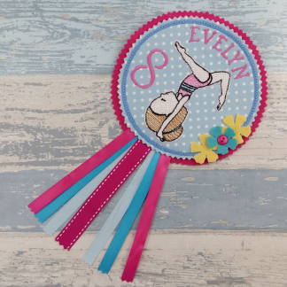 Gymnast Girl Personalised Birthday Badge