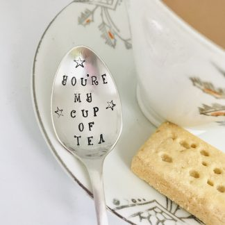 handstamped vintage tea spoon