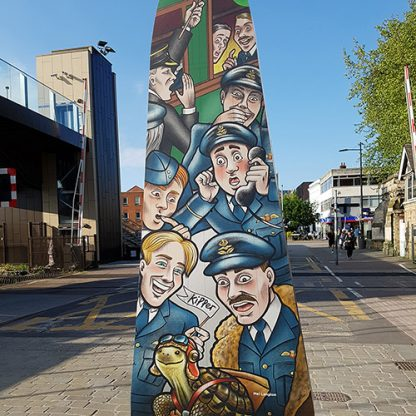 Lancaster wing from the Lincoln 100 Voices art trail, with artwork designed my artist Mel Langton.