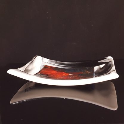 Fused glass trinket dish with black and white border and central nebula pattern