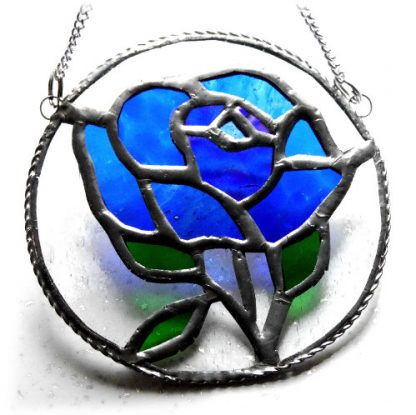 Blue rose stained glass suncatcher tbch
