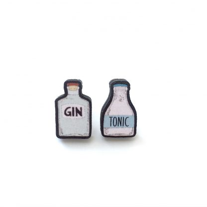 Blue gin and tonic stud earrings