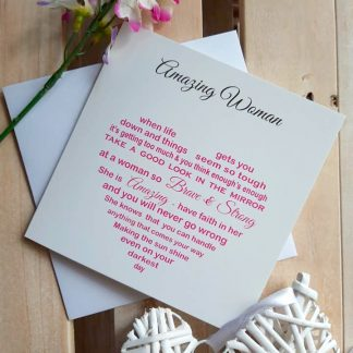 Unique Word Designs - Amazing Woman Card - Pink Heart