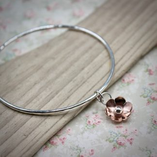 WT Silver Bangle With Copper Flower Charm