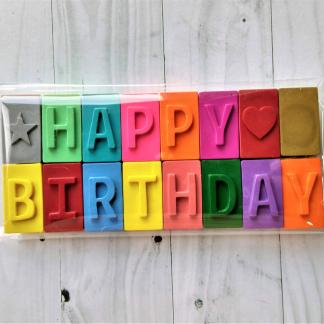 happy birthday message made from wax crayon