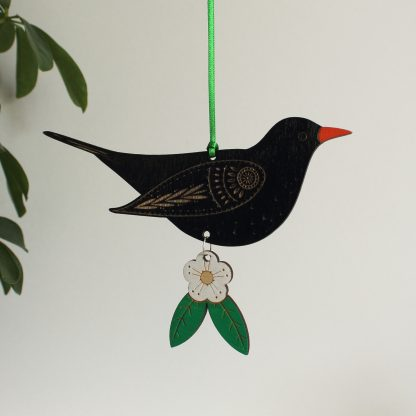 blackbird wooden bird hanging decoration etchablelaserdesign