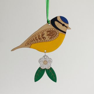 blue tit wooden bird hanging decoration etchablelaserdesign