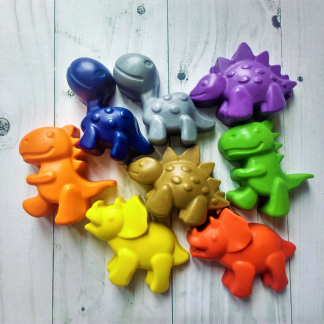 dinosaur shaped wax crayon rainbow mixture