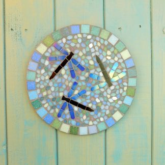 blue mosaic dragonflies on a blue, turquoise and green background hanging garden plaque decoration