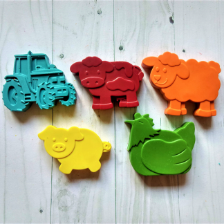 rainbow cow shaped wax crayons