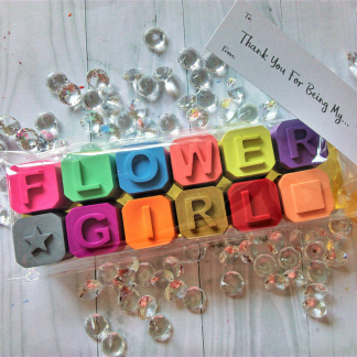 flower girl crayon wedding favours for kids
