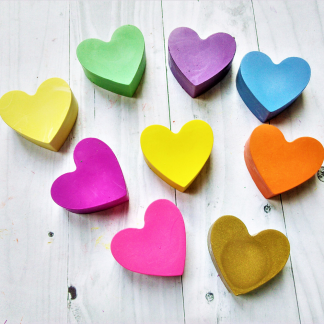 heart shaped wax crayons in pastel colours