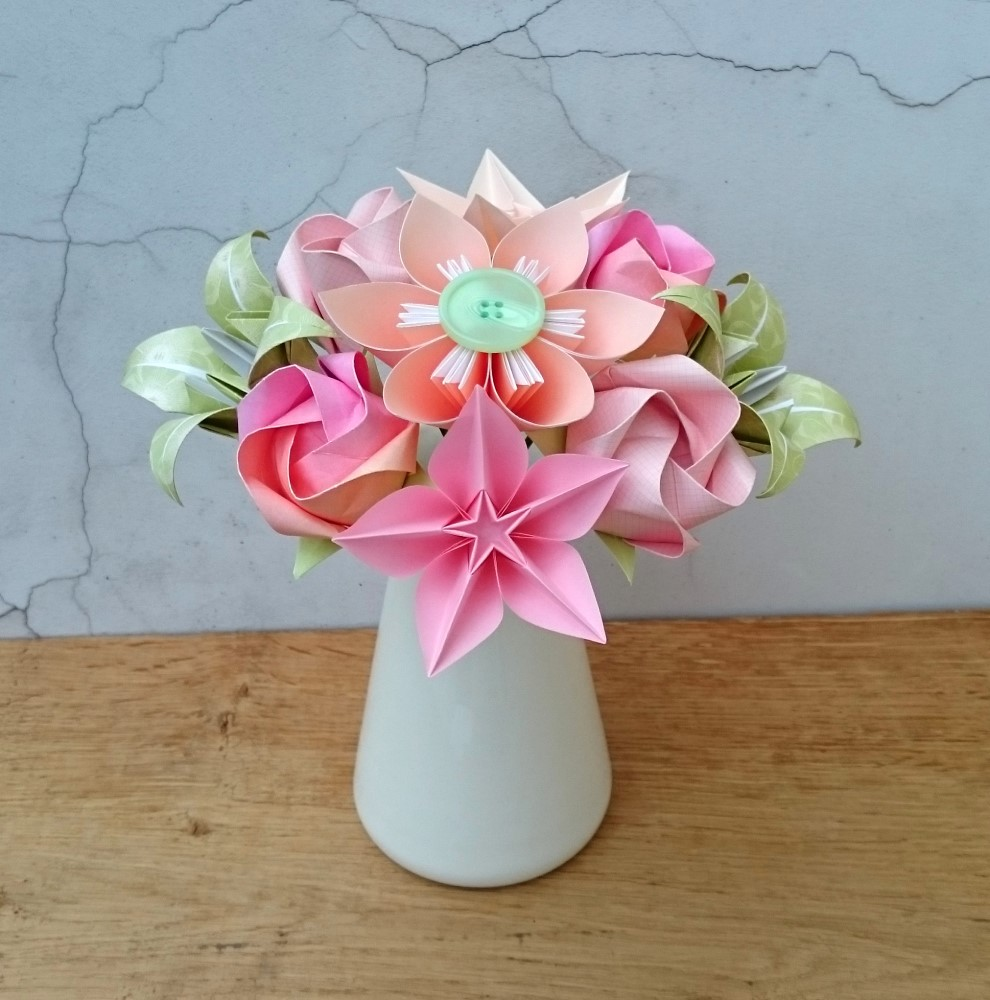 Origami and Spiral Bouquet - Paper Bridal Bouquet - Paper Wedding ... | 1000x990