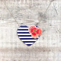 Nautical blue heart necklace