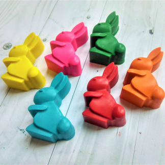 bunny rabbit shaped wax crayons for childrens colouring