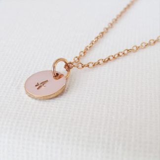 rose gold filled initial disc necklace
