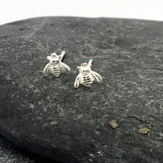 tiny bee silver stud earrings
