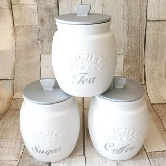 White Silver Kitchen Canisters
