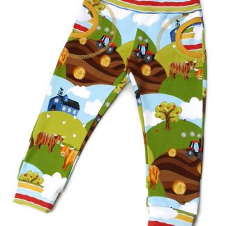 Organic cotton baby and kids joggers with pockets and Highland Cow print
