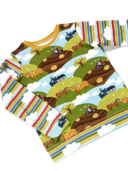 Unisex baby and kids t-shirt depicting green fields, highland cows and colour blocked with cloud print stripe arms.[
