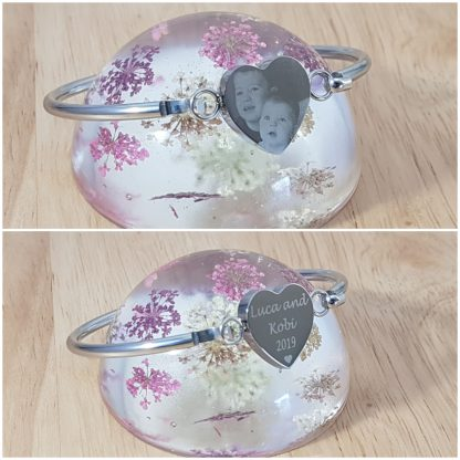 Engraved Personalised Heart Bangle mothers day