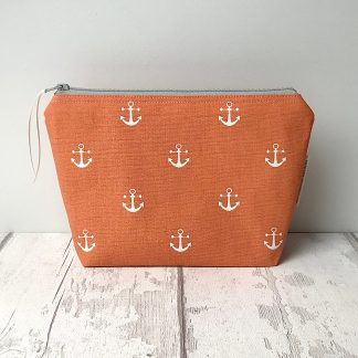 Cosmetic Bag - Orange Anchors