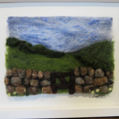 'Over the Hill' Needle Felting Picture Kit. Available with Live Online Tutorial. Louise Hancox Textile Artist
