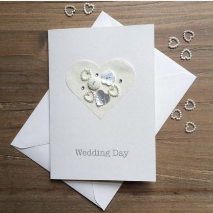 heart wedding card with hand sewn buttons