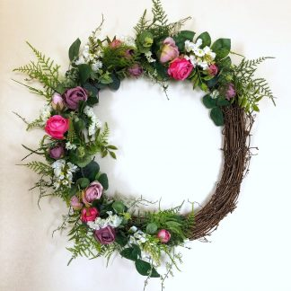 Pink and white floral front door wreath