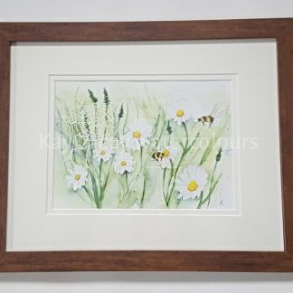 Daisy Meadow with Bees framed Watercolour