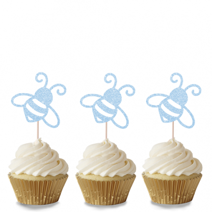 Bee Cupcake Toppers - Baby Blue